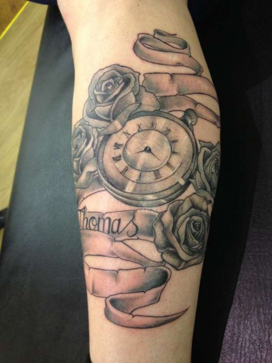 Roses Compass And Clock Tattoo Designs