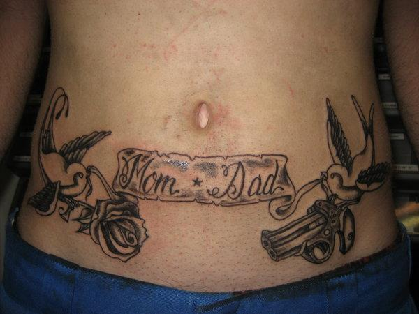 Roses Mom Dad Banner Tattoo