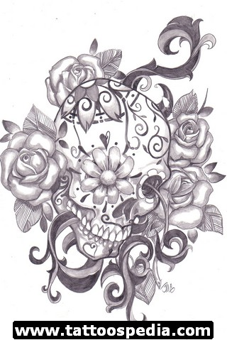 Roses Skull And Spider Half Sleeve Tattoos