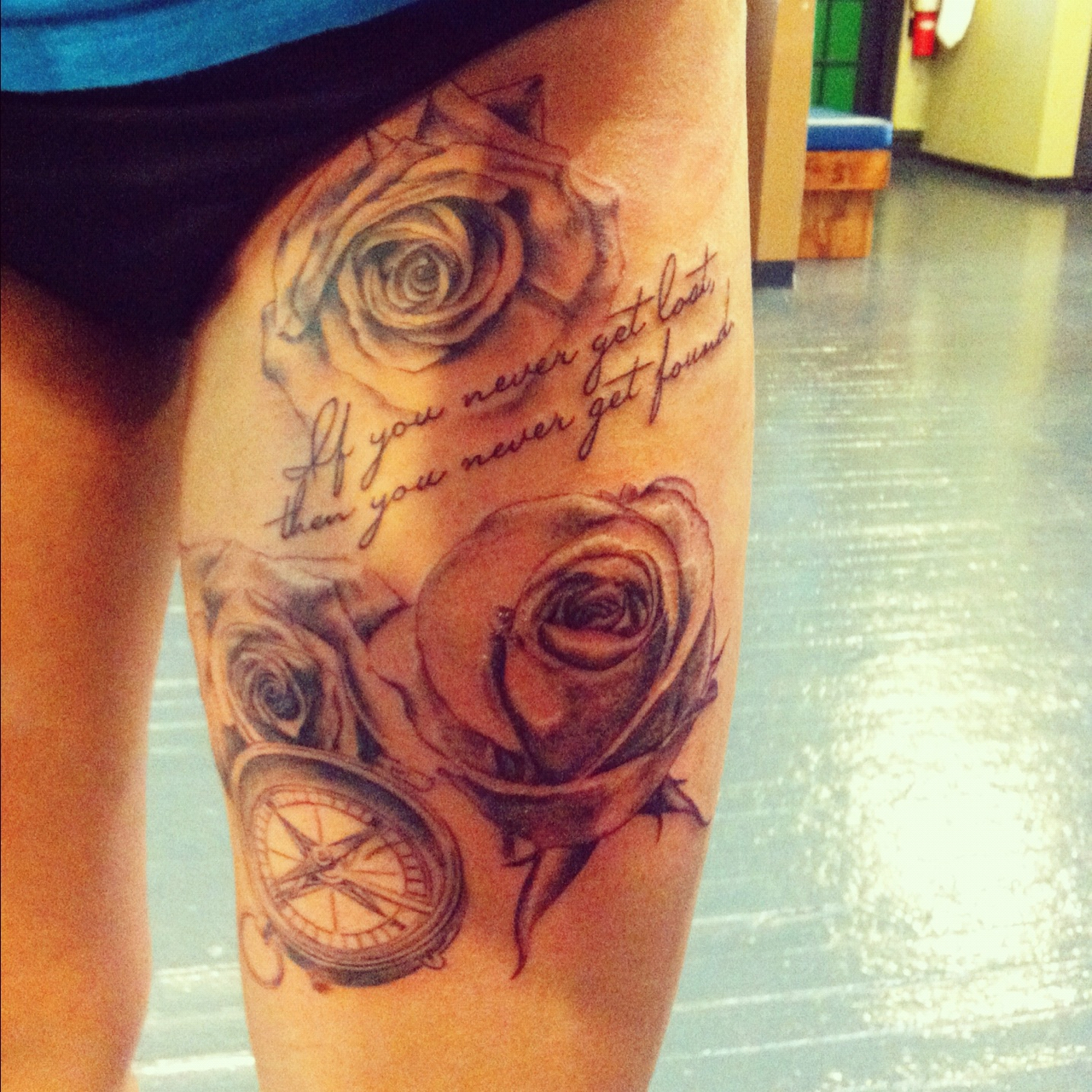 Roses With Comp Tattoos On Thigh Photo 1