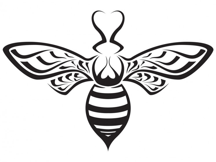 Round Shape Bee Tattoo Picture