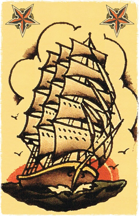 Sailor Jerry Ship Colored Tattoo Design