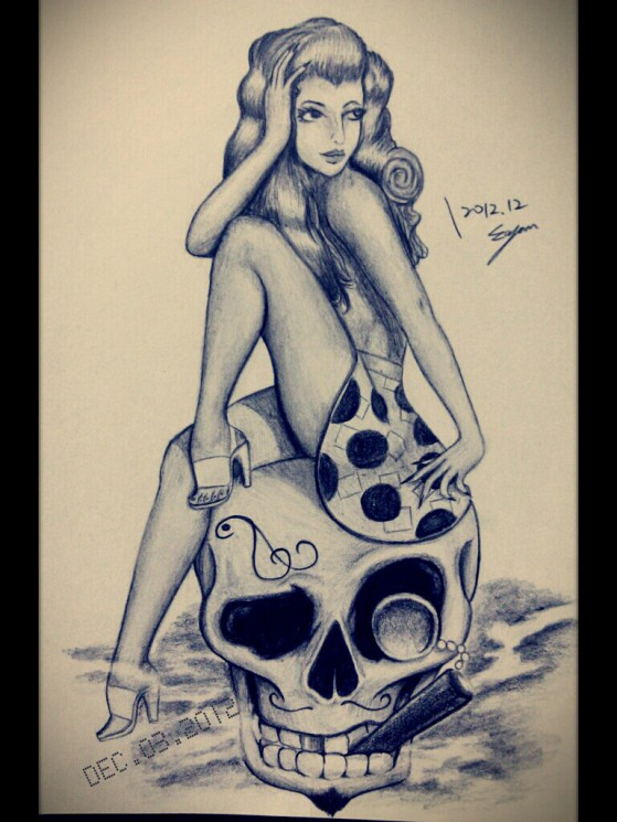 Sailor Pin Up Girl With Rose Tattoo Sketch