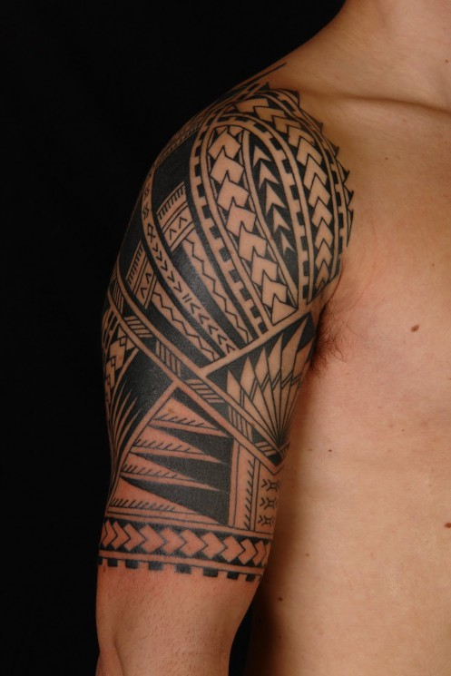 Samoan Maori Polynesian Tattoo On Half Sleeve