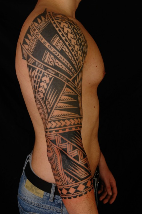 Samoan Maori Polynesian Tattoos On Chest And Half Sleeve