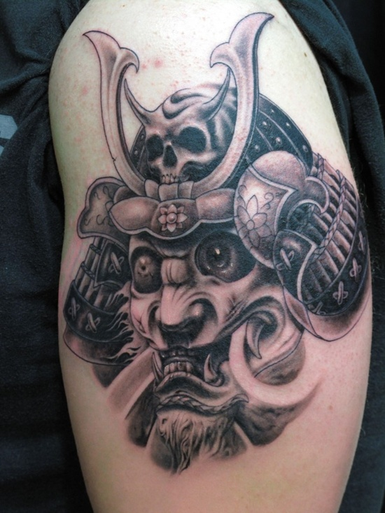 Samurai Helmet Tattoo Design