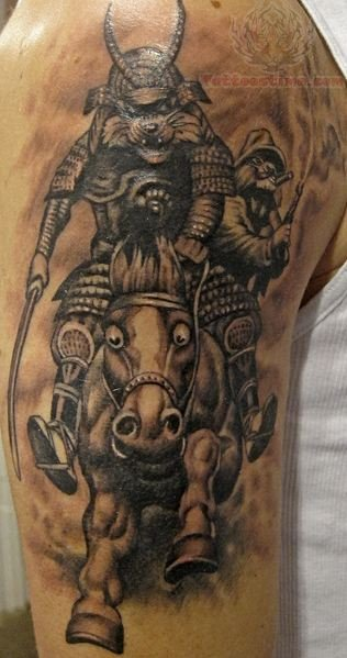 Samurai Mask Tattoo On Biceps