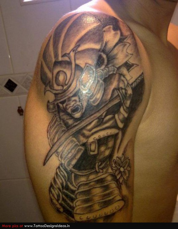 Samurai With Sword Leg Tattoos