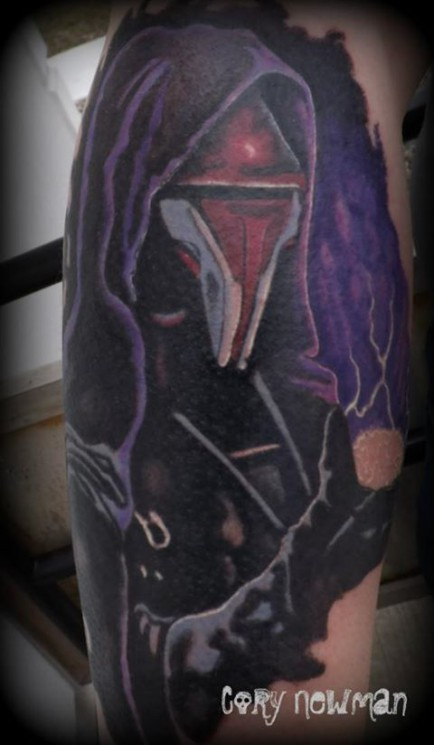 Scary Alien Tattoo On Shoulder And Back