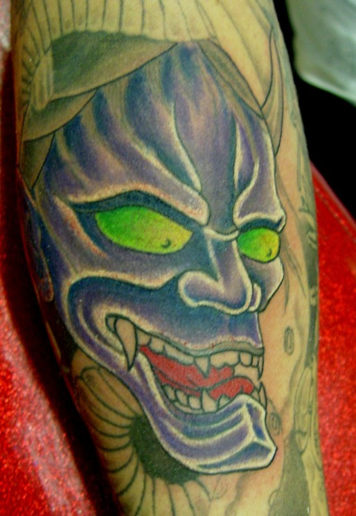 Scary Asian Devil Face Tattoo Design