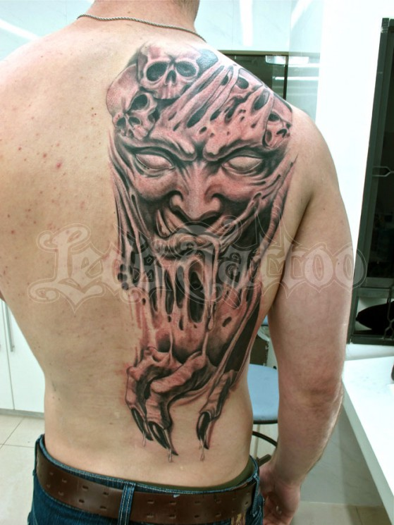 Scary Demon Tattoo On Right Shoulder Back