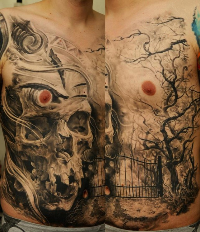 Scary Gothic Skull Tattoo Design