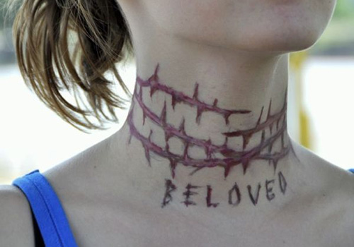 Scary Stitched Neck Tattoos
