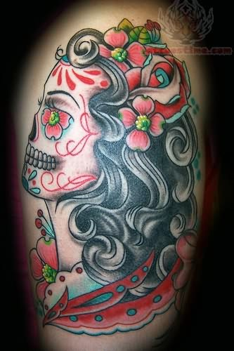 Scary Zombie Pin Up Girl Tattoo Design