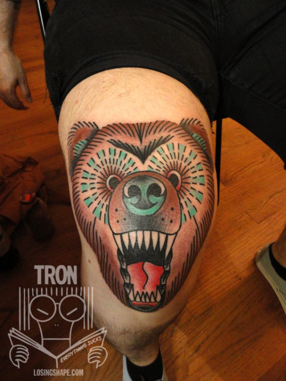 Screaming Bear Knee Tattoo Design