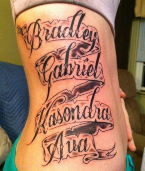 Scroll Lettering Tattoo On Arm