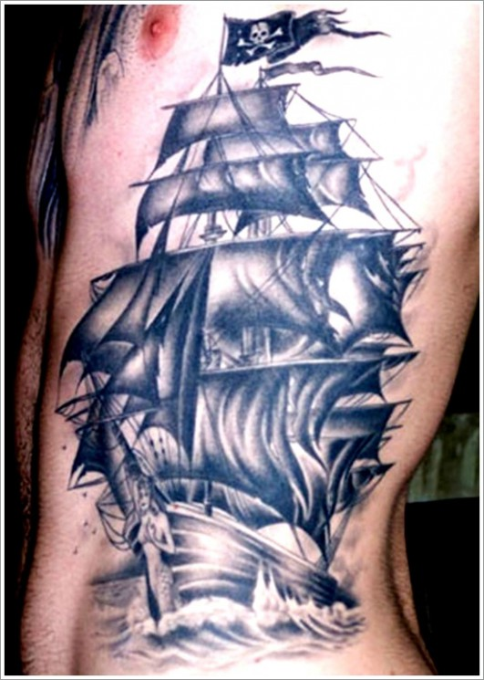 Sea Scene Pirate Skull And Compass Tattoos