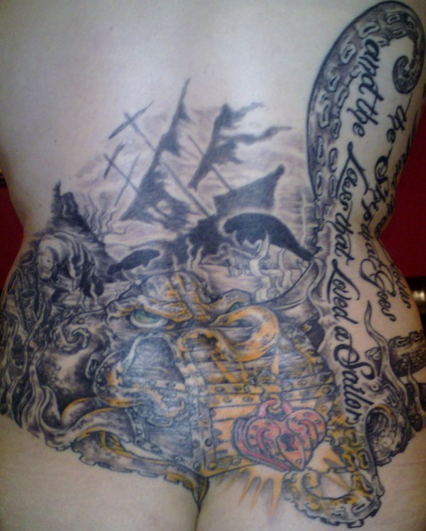 Sea Storm Ship And Octopus Tattoos On Sleeve