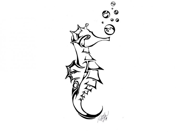 Seahorse And Bubble Tattoos