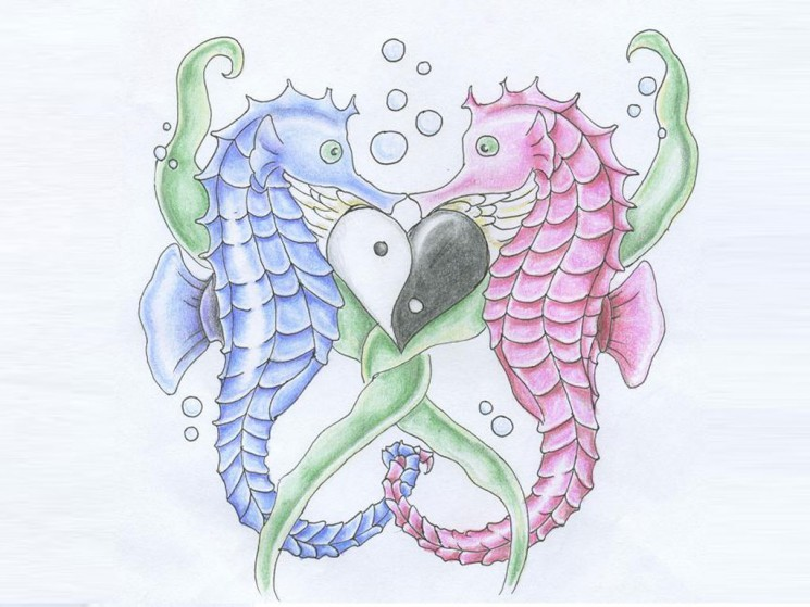 Seahorses Heart Tattoo Design