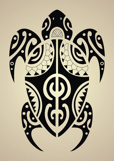 Set Of Maori Tribal Turtle Tattoos