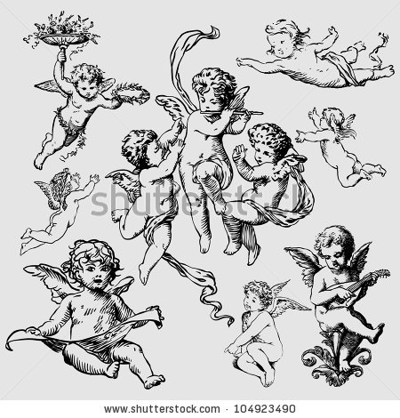 Set Of Various Angels Or Cupids Tattoo Design