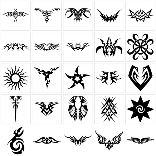 Several Black Symbol Tattoo Designs