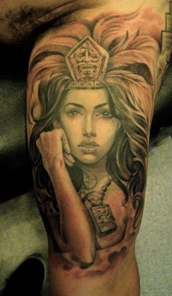 Sexy Military Girl Tattoo On Arm