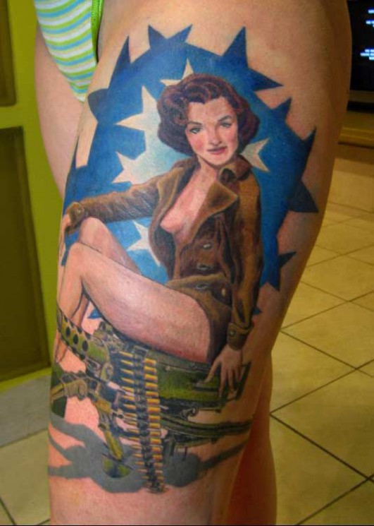 Sexy Military Pin Up Tattoo Design