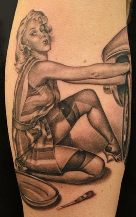 Sexy Pin Up Girl Standing Tattoo On Arm