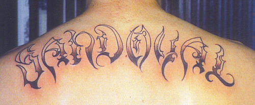 Shaded Chinese Letters Neck Tattoos