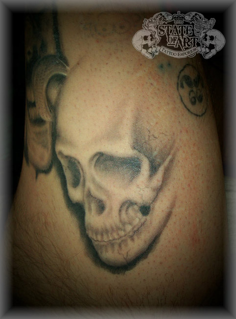 Shaded Cowboy Skull Tattoo On Muscles