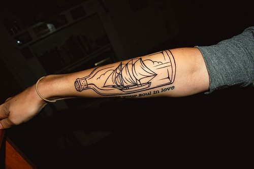 Shin In A Bottle Outline Tattoo On Arm