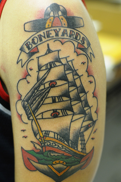 Ship And Anchor Traditional Tattoo