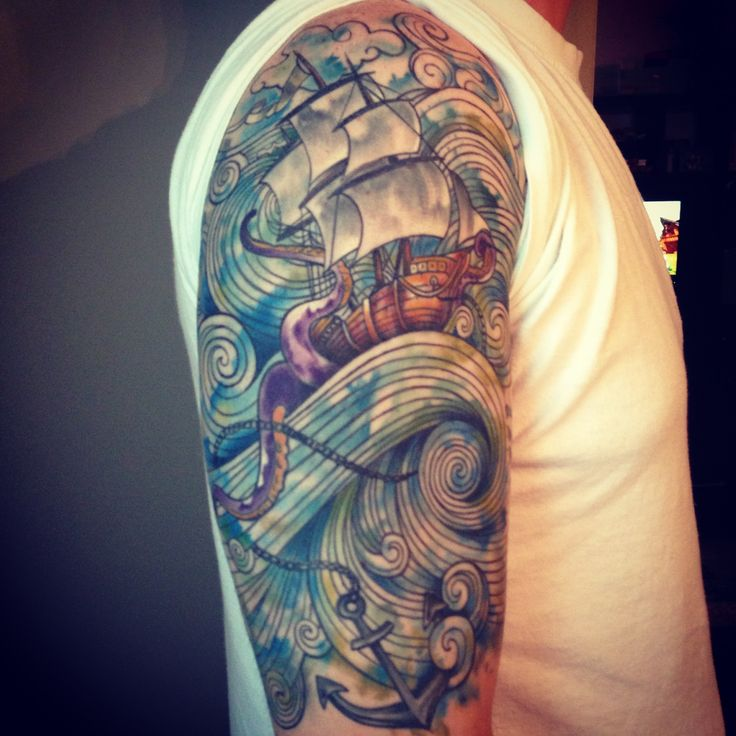 Ship And Anchor Uncolored Tattoo Sample