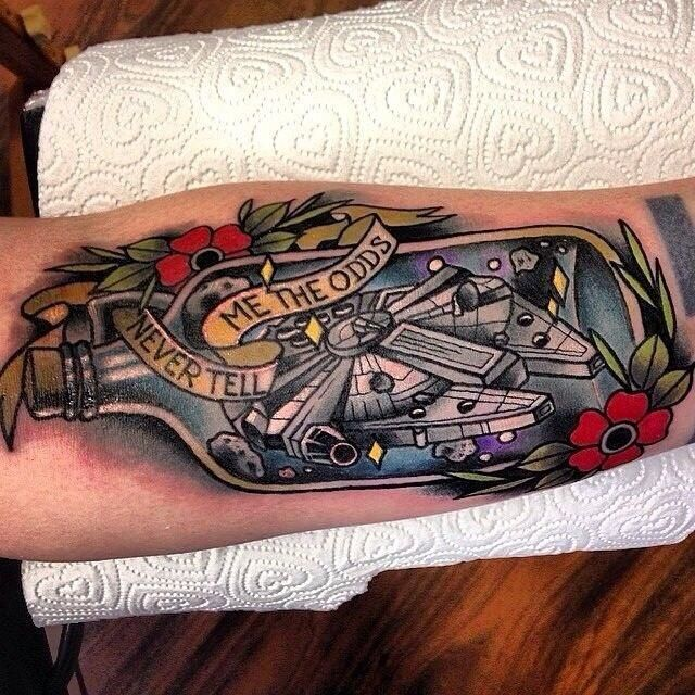 Ship In A Bottle Colored Tattoo