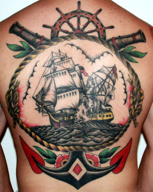 Ship In Red Rose Tattoo