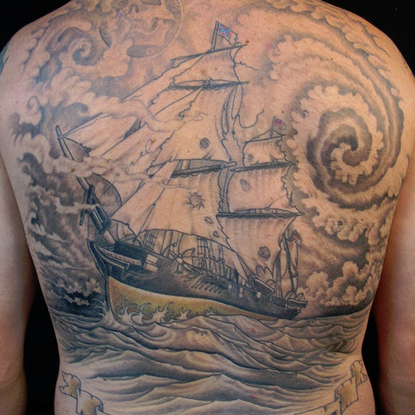 Ship In Sea Storm Backpiece Tattoo For Men