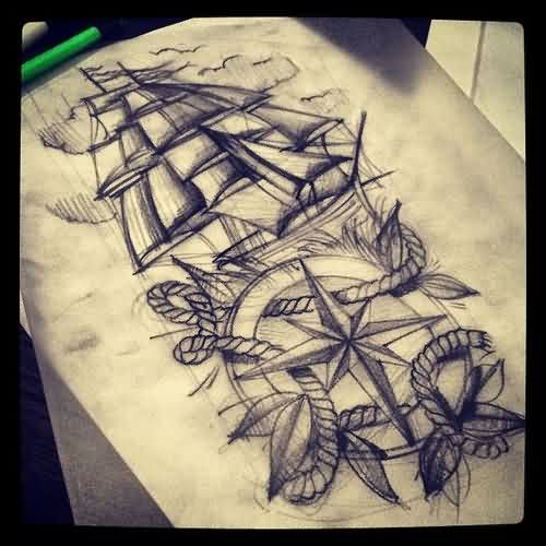 Ship Nautical Compass And Rose Tattoo Drawing