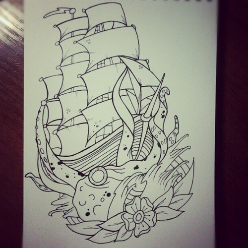 Ship Octopus And Flower Tattoos Page