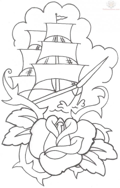 Ship Roses Outline Chestpiece Tattoos