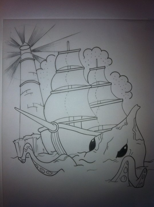 Ship Sea Monster Tattoo Design