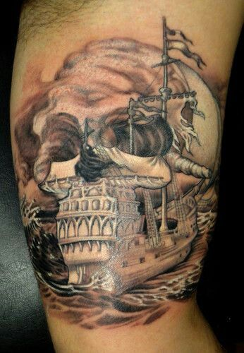 Ship Skull Grey Ink Tattoos On Upper Body