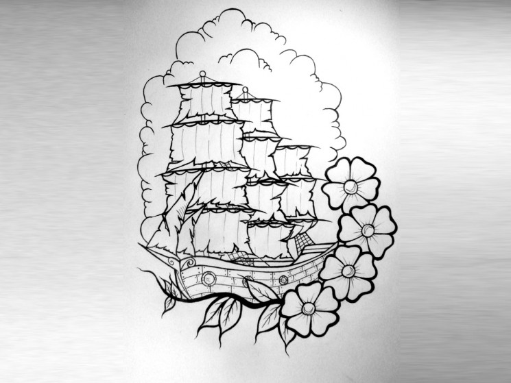 Ship Surrounded By Flowers Tattoo Design