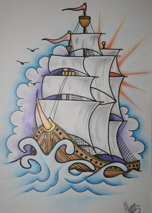 Ship Tattoo Design