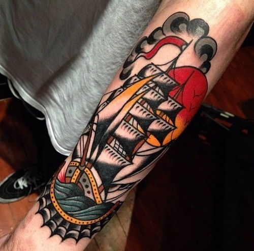 Ship Traditional Tattoos On Arms