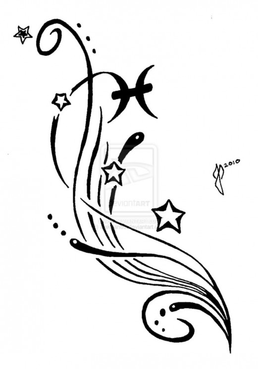 Shooting Stars And Black Pisces Symbol Tattoos