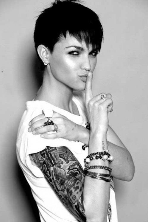 Short Hair Cut And Rose Vine Tattoos For Girls