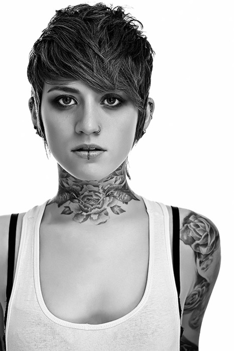 Short Hairs And Sweet Neck Tattoo