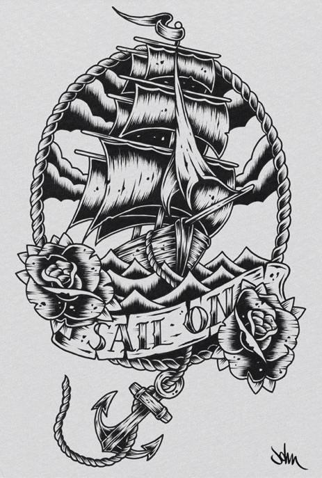 Showing Birds And Sailing Ship Tattoos On Side